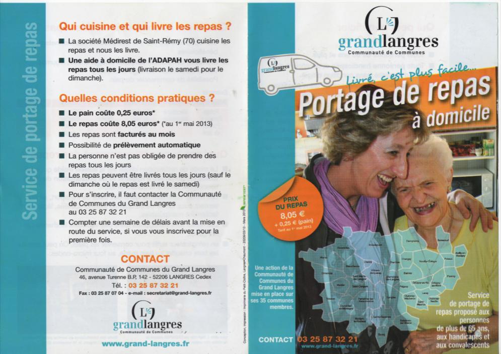 Mairie de changey for Portage de repas a domicile